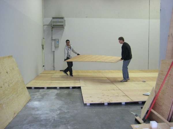 Sprung floor building at our dojo 39 s new home pacific for How to build a garage floor