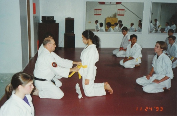 Reflections to the 5th Degree On My Promotion to Godan. Receiving my yellow belt.