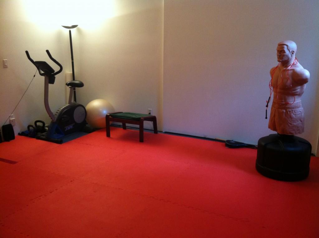 Basement home workout area